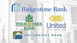 Ridgestone Bank, Four Oaks Bank, United Federal Credit Union, and The Coastal Bank logos