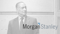 Image of man in suit with Morgan Stanley logo