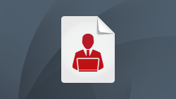 White paper icon featuring outline of Business Professional at laptop