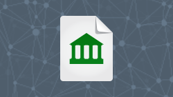 White paper icon of bank
